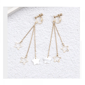 Gold - Stars Long Drop Earring For Women Ladies - High Quality
