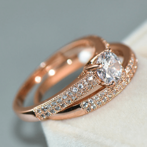 Rose Gold - 2 PC Sterling Silver Ring Set For Women Glowing