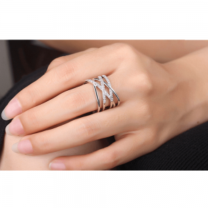Silver - Cuff Adjustable Ring For Women Ladies - AAA Zircon-