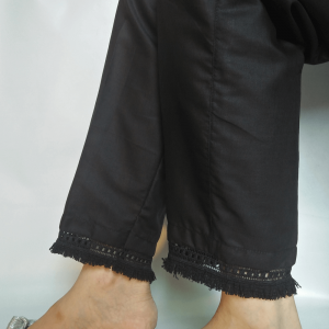 Black - Pure Cotton Trouser Trouser For Women Ladies - With Bottom Lace