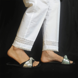 White Laces Design Trouser Pant For Ladies Women