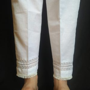 White - Laces Design Trouser Pant For Ladies Women