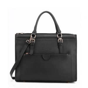 Black Faux Leather Handbag AG00366 Black 1