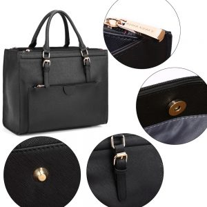 Black Faux Leather Handbag AG00366 Black 5