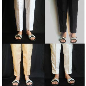 Plain Trouser Pant For Women - Pure Cotton
