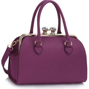 Purple Metal Frame Satchel