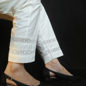 Off White Trouser Pant For Ladies Women With Laces