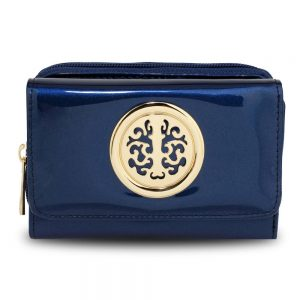 Navy Patent PurseWallet with Metal Decoration