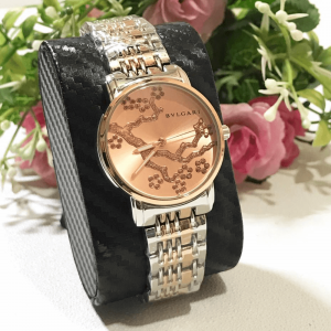 Bvlgari Silver RoseGold Chain Strap Watch for Women