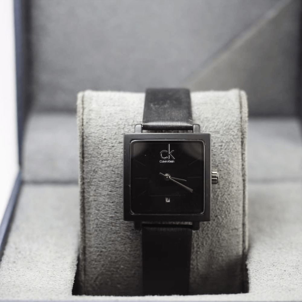 CK Black Analog Square PU Leather Watch For Man & Women