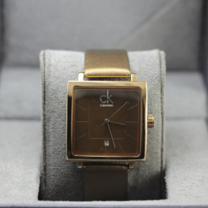CK Gold Analog Square PU Leather Watch For Man & Women
