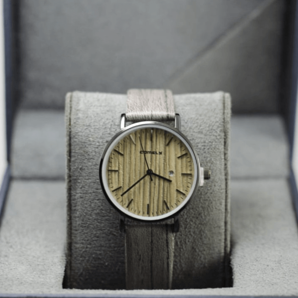 Comely Grey Wooden style with Leather Strap Watch