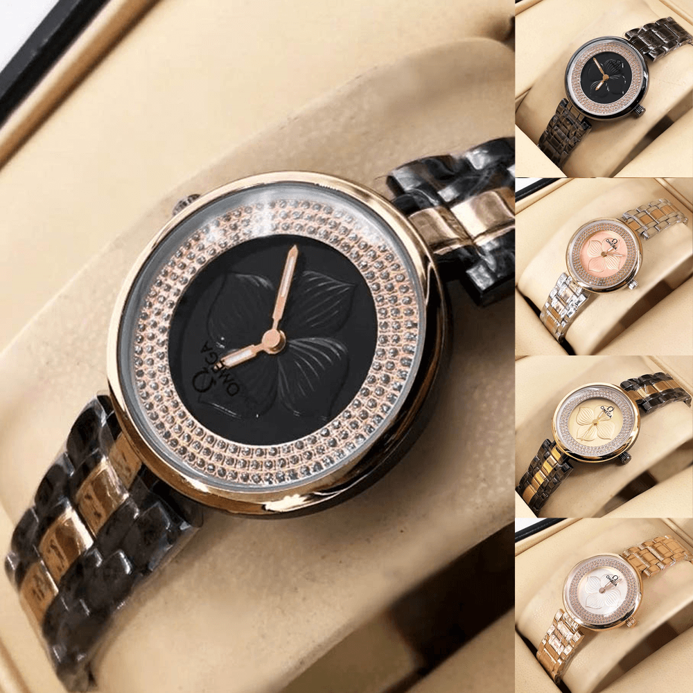 Omega Black Gold Diamond Embossed Design Chain Watch