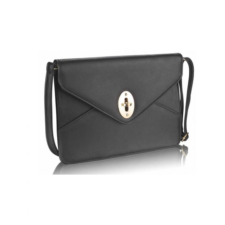 Black Twist Lock Flapover Clutch Purse