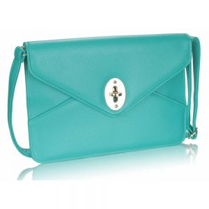 Emerald Twist Lock Flapover Clutch Purse