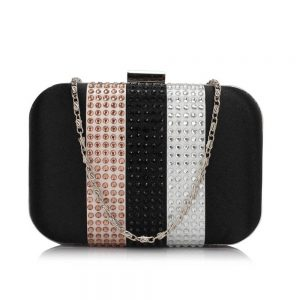 Black Clutch Bag With Diamante Decorative Strips