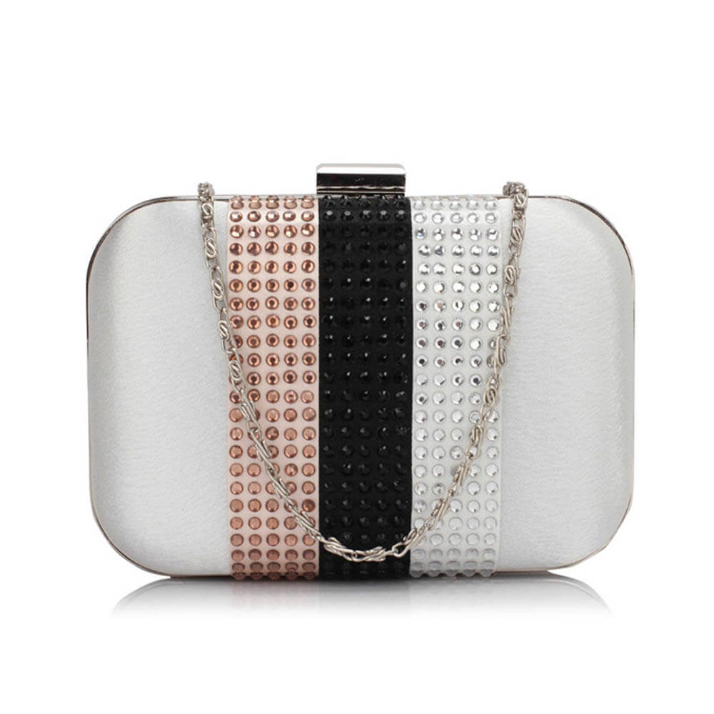 Ivory Clutch Bag With Diamante Decorative Strips