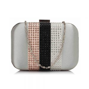 Silver Clutch Bag With Diamante Decorative Strips