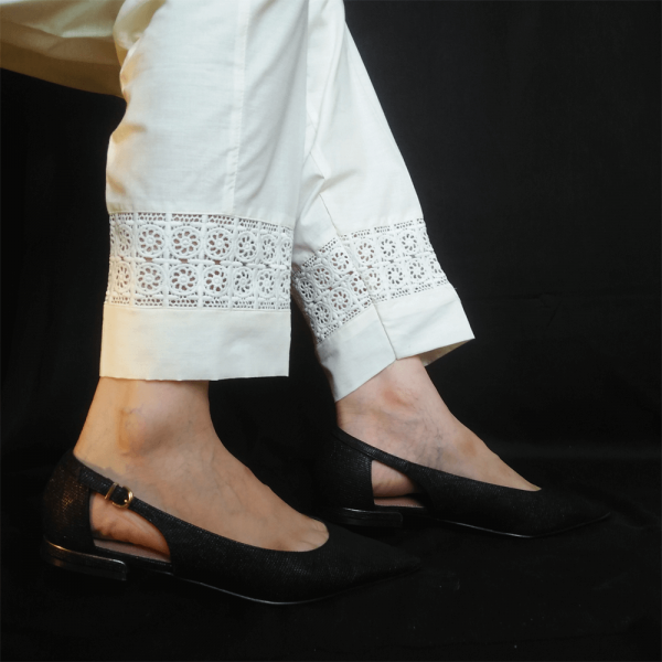 Off White - Trouser Pant For Ladies Women With Lace