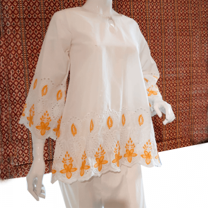 White Chikan Top
