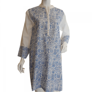 Block Print Top For Women - Blue White