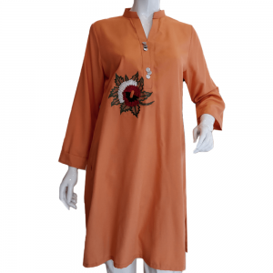 Orange Trendy Top For Women With Floral Embroidery