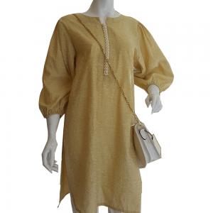 Yellow Shirt With Pearl Neck and Ruched Sleeves