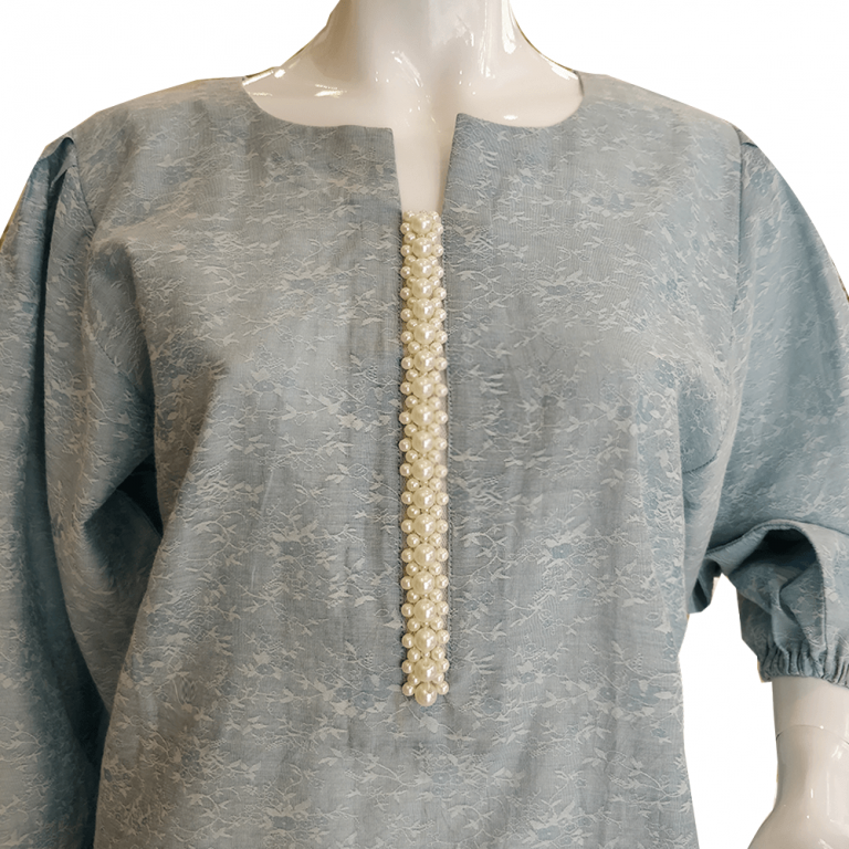 Blue Shirt With Pearl Neck and Ruched Sleeves