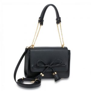 Black Flap Tassel Cross Body Bag
