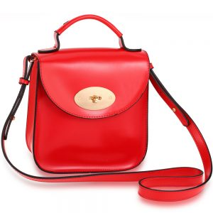 Red Flap Twist Lock Cross Body Bag