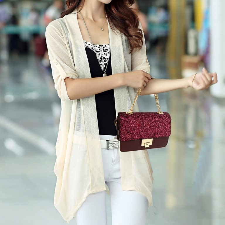 Burgundy Glitter Flap Cross Body Bag