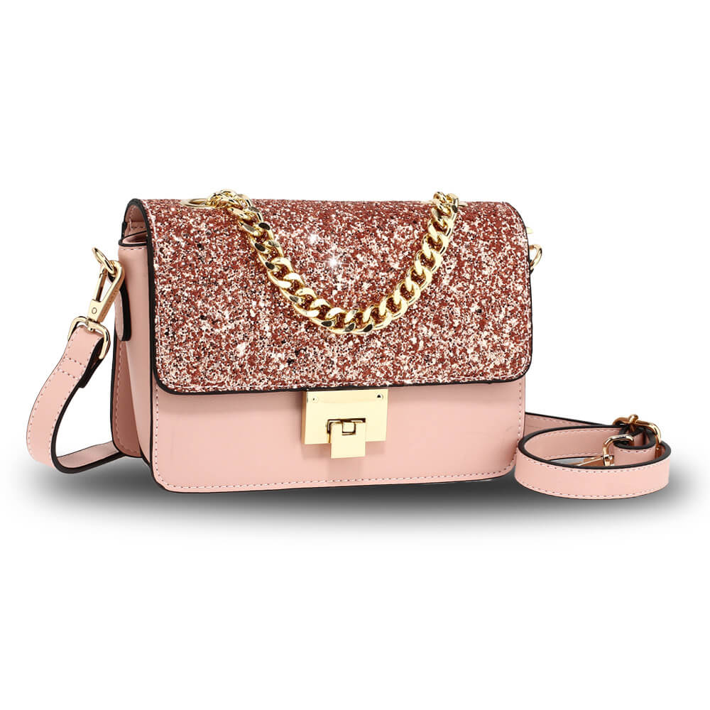 Champagne Glitter Flap Cross Body Bag
