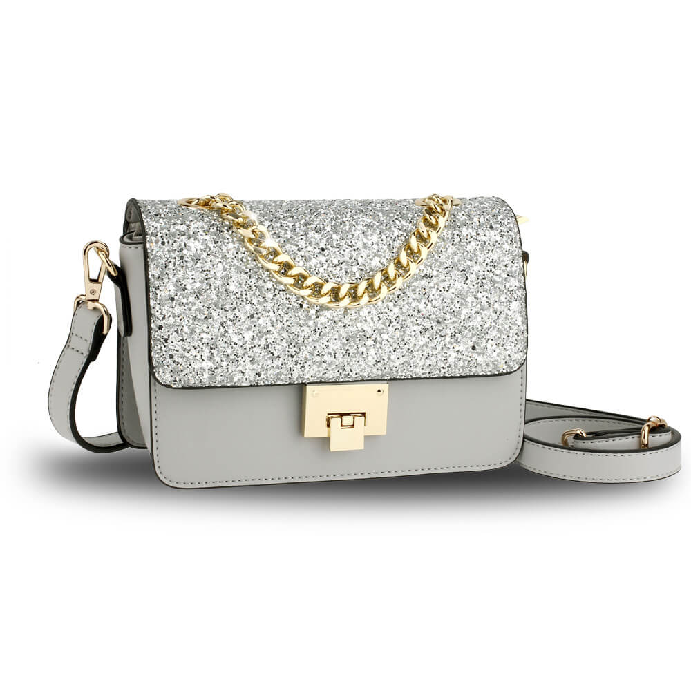 Silver Glitter Flap Cross Body Bag