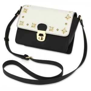 Black White Flap Twist Lock Cross Body Bag