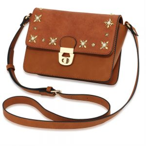 Tan Flap Twist Lock Cross Body Bag