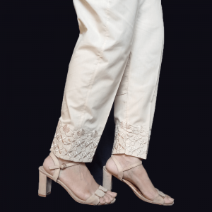 Embroided Trouser Pant For Women Pure Cotton Beige