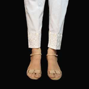 Embroided Trouser Pant For Women Pure Cotton White