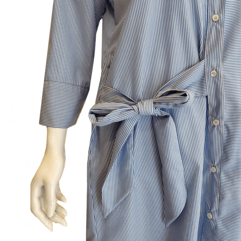 Striped Trendy Top With Front Bottons and Bow Design