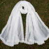 Chiffon Dupatta - White - Large With 4 Sided Heavy Lace - Length 2.5 Yards Width 1.25 Yards