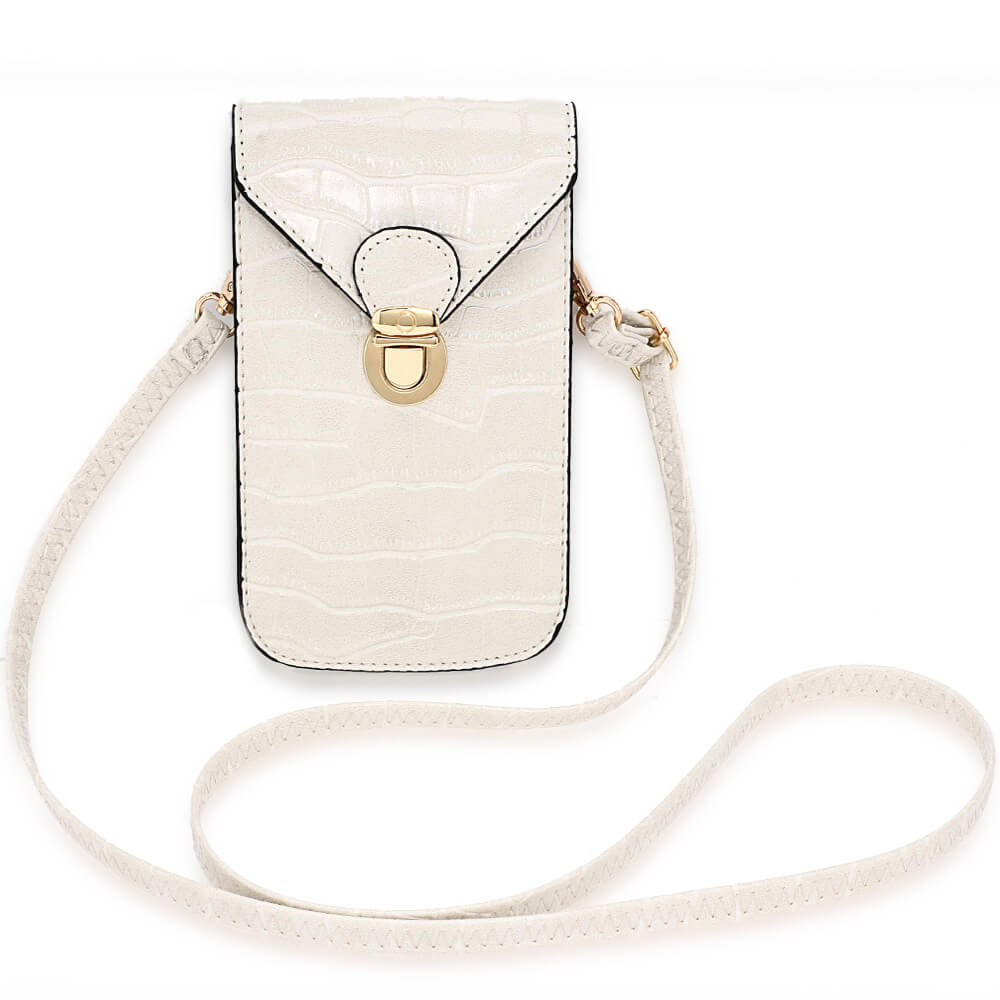Beige Croc Print Cross Body Shoulder Bag