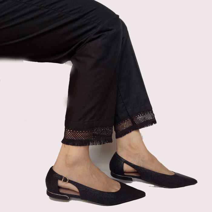 Trouser Pant For Ladies With Bottom Lace Black
