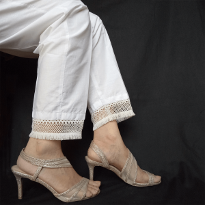 Trouser Pant For Ladies With Bottom Lace White