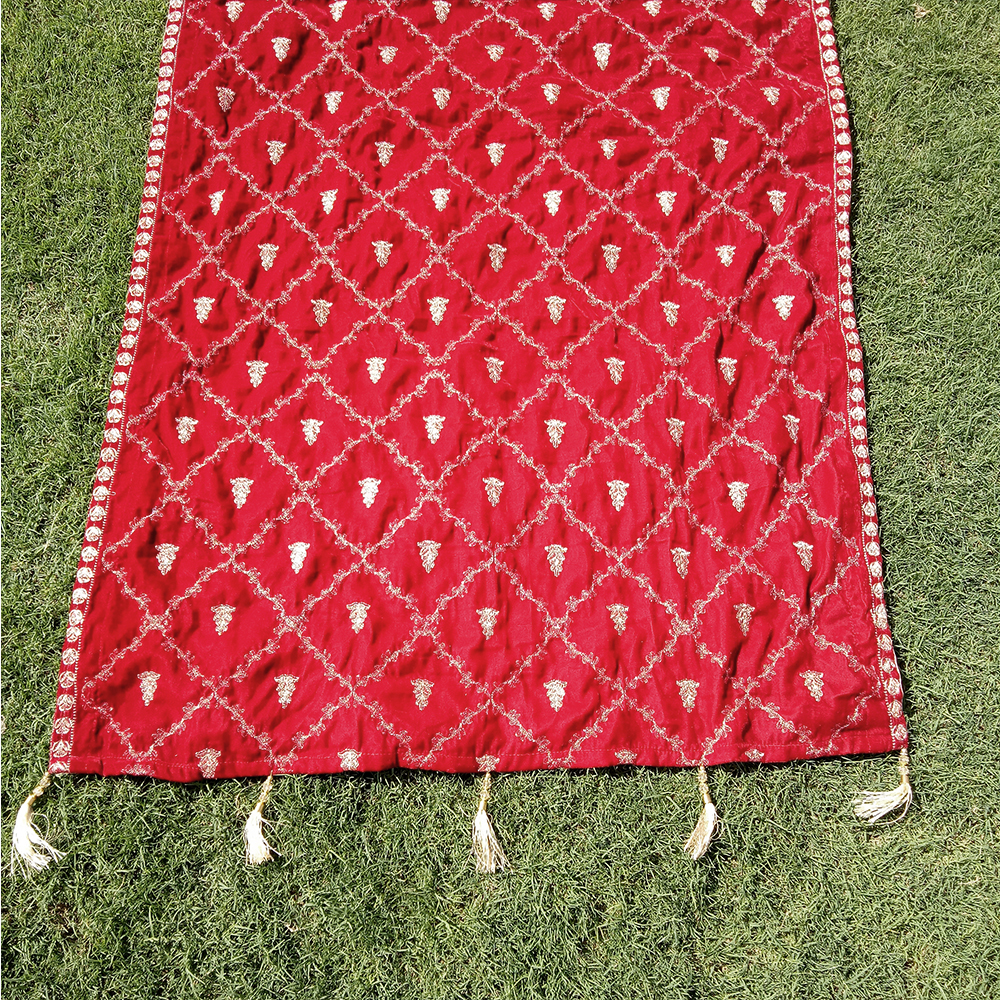 1 ZSH24 Velvet Shawl - Embroided For Wedding Party