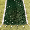 Velvet Shawl Embroided For Wedding Party Winter Warm Large 2.5 yard Green