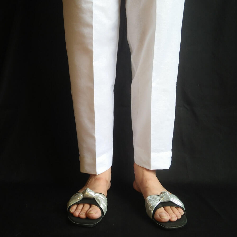 Khaddar Winter Warm Trouser Pant For Women Ladies White