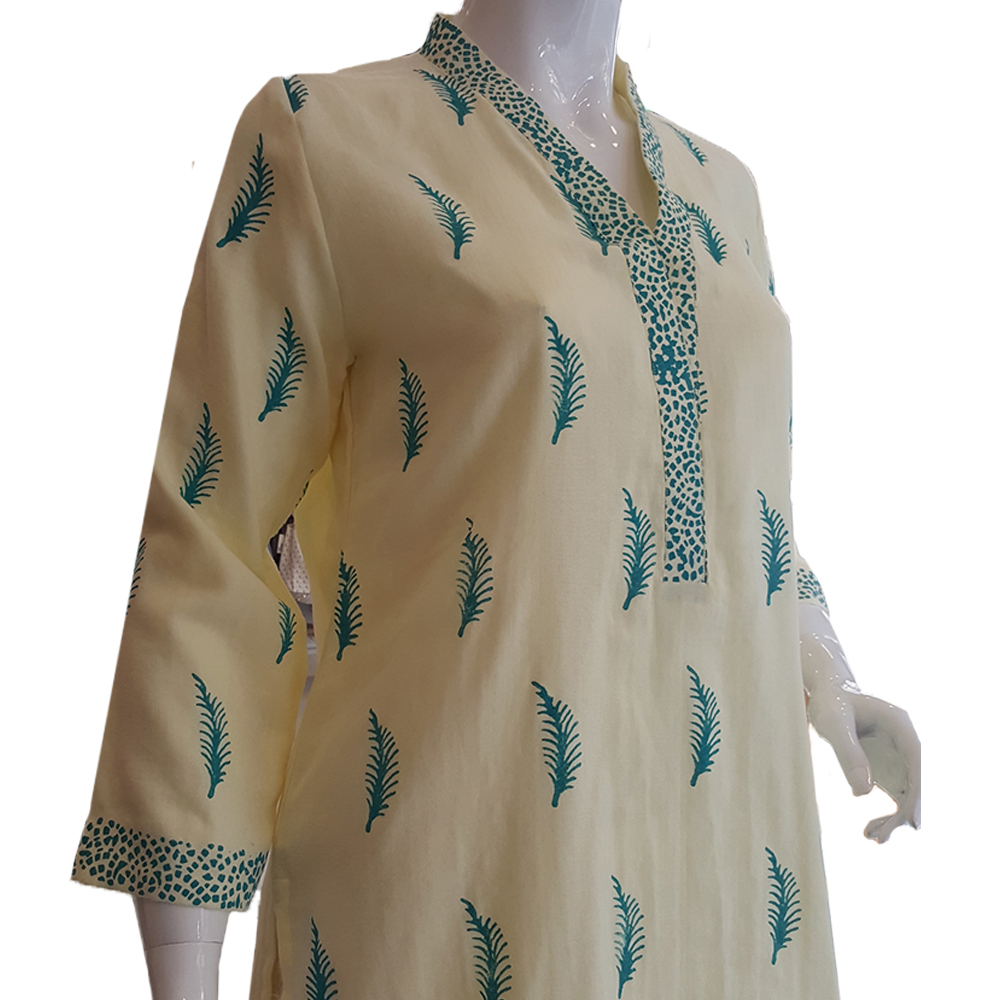 Block Print Top For Women - Yellow - BGK22 - 1