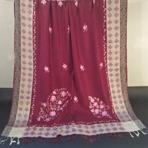 Embroided - Winter Warm Woolen Shawl For Women Ladies - Large 2.5 yards - Maroon - ZSH47