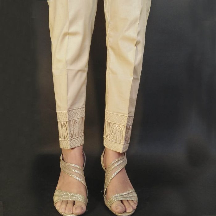 Beige Embroided Trouser Pant For Women Ladies