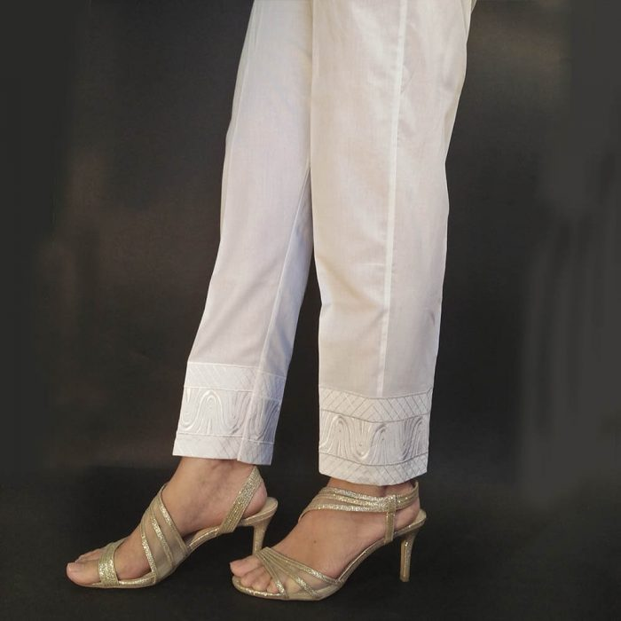 White Embroided Trouser Pant For Women Ladies Cotton