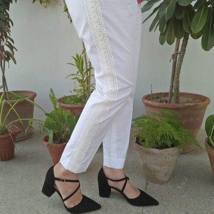 Ladies Trouser Pant With Side full Lace Design White